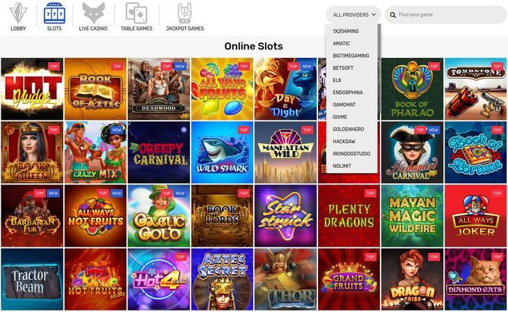 CrazyFox Casino games