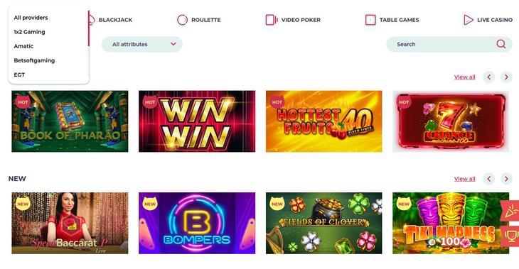 Maneki Casino spelaanbod en softwaremakers